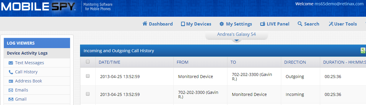 call log mobilespy