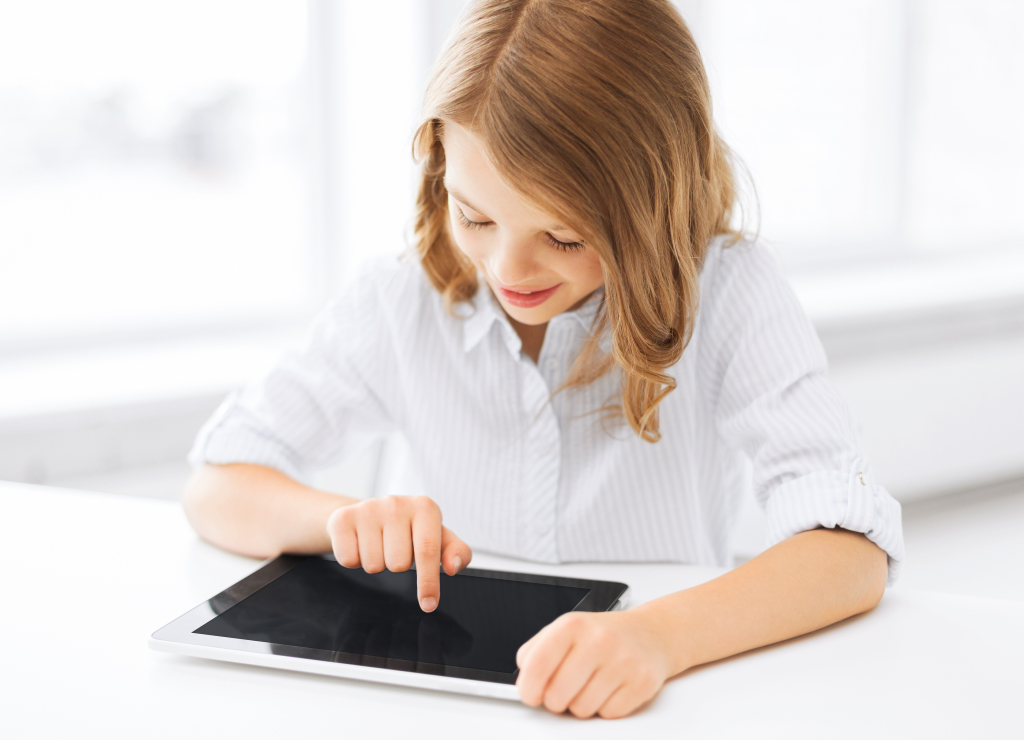 education, school, technology and internet concept - little stud