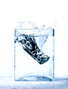 mobile phone in water